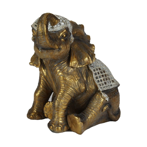 Large Sitting Elephant Ornament Gold Elephant Figurine  44cm